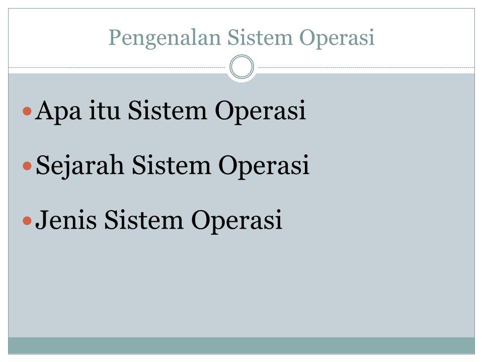 Pengenalan Sistem Operasi Apa itu Sistem Operasi Sejarah Sistem Operasi Jenis Sistem Operasi