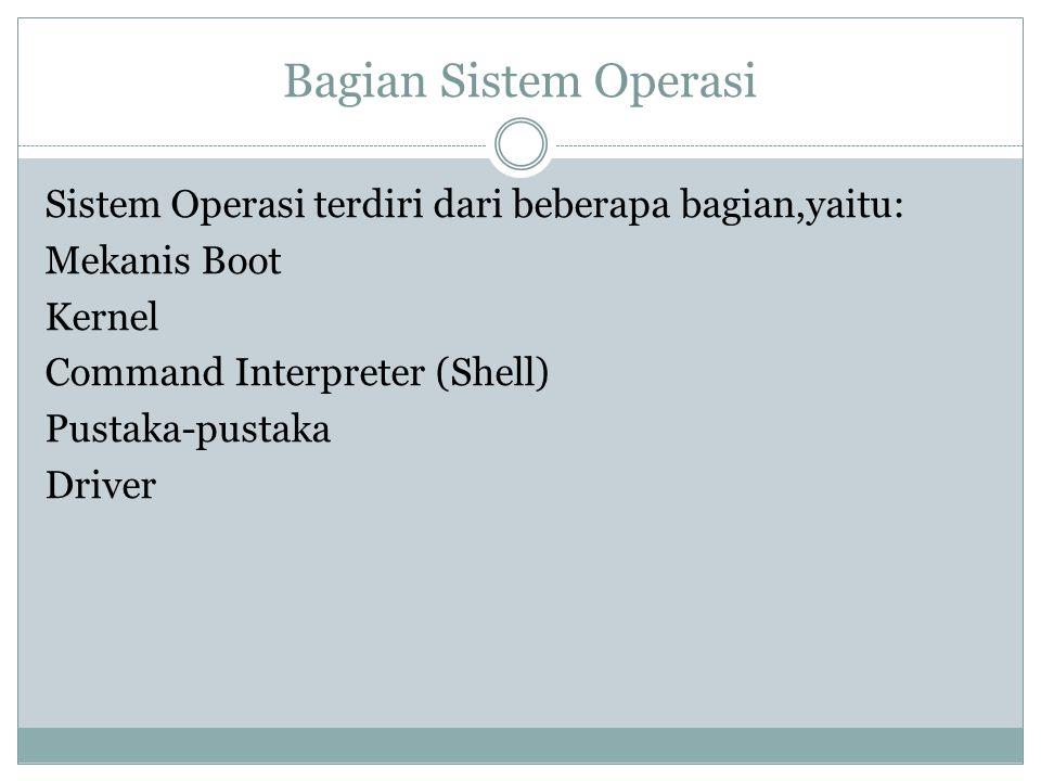 Bagian Sistem Operasi Sistem Operasi terdiri dari beberapa bagian,yaitu: Mekanis Boot Kernel Command Interpreter (Shell) Pustaka-pustaka Driver