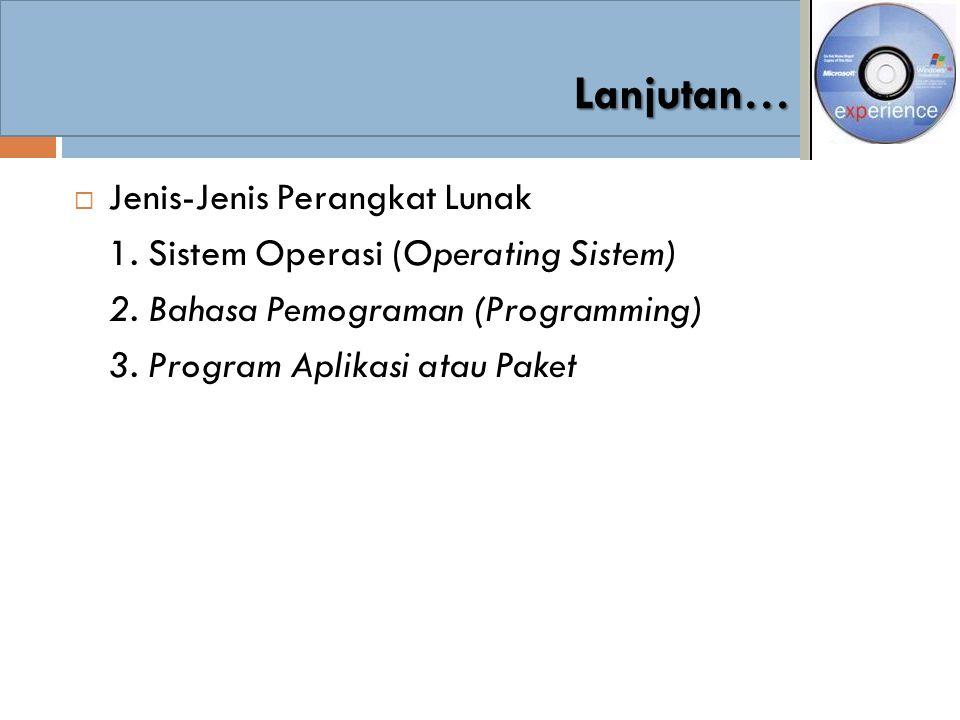  Jenis-Jenis Perangkat Lunak 1. Sistem Operasi (Operating Sistem) 2. Bahasa Pemograman (Programming) 3. Program Aplikasi atau Paket Lanjutan…