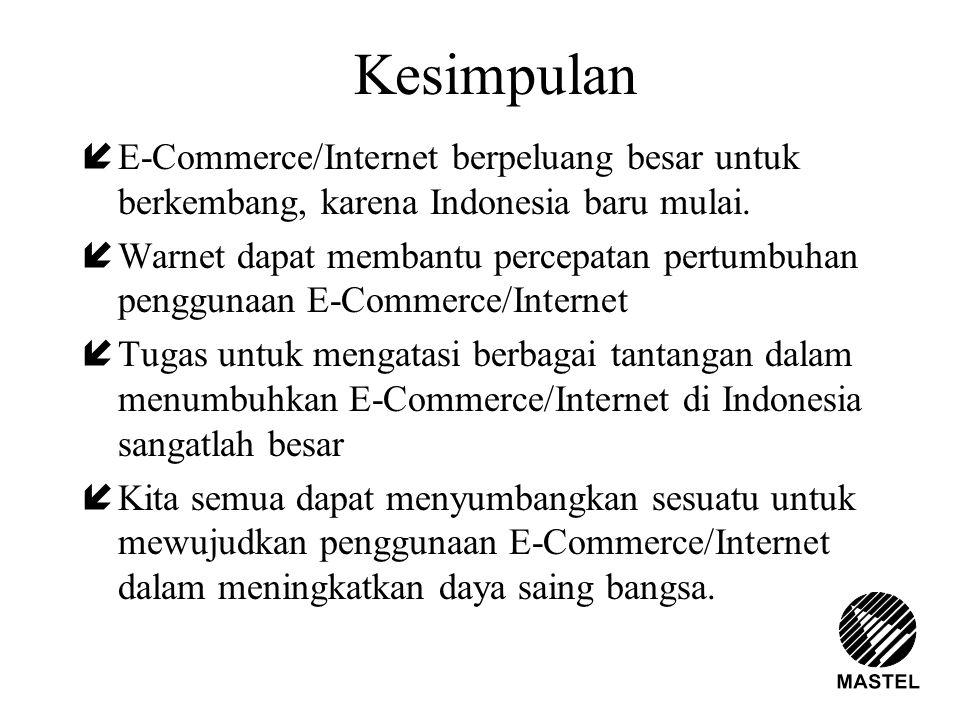 Kesimpulan íE-Commerce/Internet berpeluang besar untuk berkembang, karena Indonesia baru mulai. íWarnet dapat membantu percepatan pertumbuhan pengguna