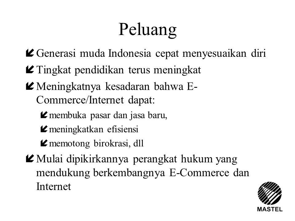 Peluang íGenerasi muda Indonesia cepat menyesuaikan diri íTingkat pendidikan terus meningkat íMeningkatnya kesadaran bahwa E- Commerce/Internet dapat: