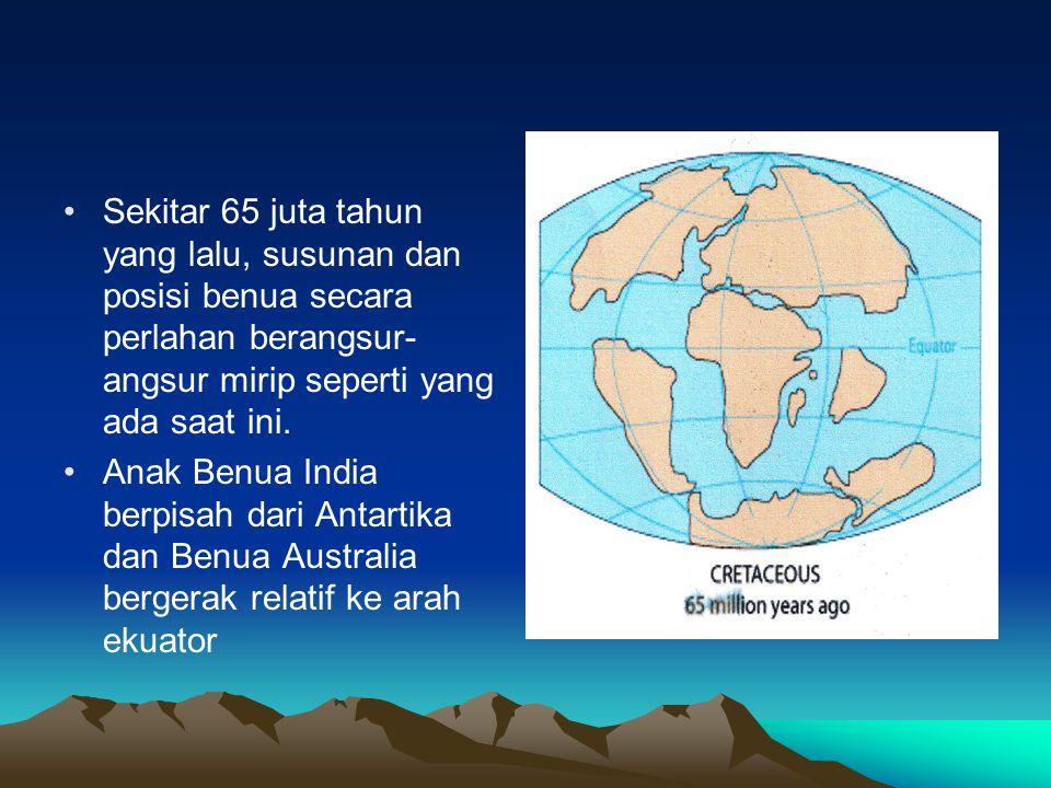 Sekitar 65 juta tahun yang lalu, susunan dan posisi benua secara perlahan berangsur- angsur mirip seperti yang ada saat ini. Anak Benua India berpisah