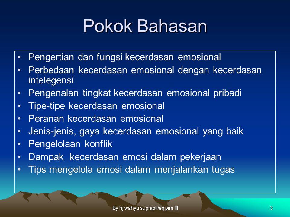 By hj wahyu suprapti/eq pim III3 Pokok Bahasan Pengertian dan fungsi kecerdasan emosional Perbedaan kecerdasan emosional dengan kecerdasan intelegensi Pengenalan tingkat kecerdasan emosional pribadi Tipe-tipe kecerdasan emosional Peranan kecerdasan emosional Jenis-jenis, gaya kecerdasan emosional yang baik Pengelolaan konflik Dampak kecerdasan emosi dalam pekerjaan Tips mengelola emosi dalam menjalankan tugas