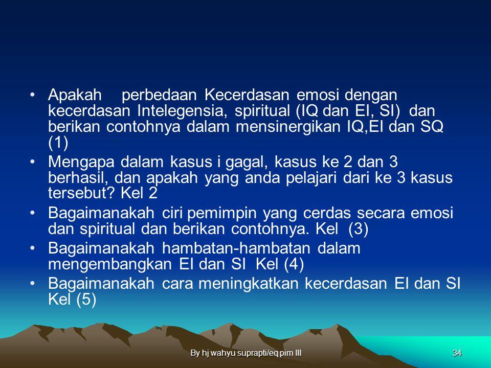 By hj wahyu suprapti/eq pim III33 DISCO Apakah kecerdasan emosi dan apakah perbedaan Kecerdasan emosi dengan kecerdasan Intelegensia, spiritual (IQ da