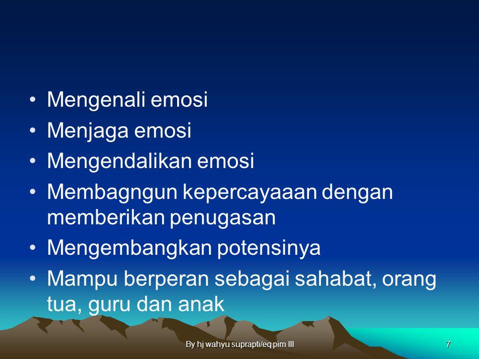 By hj wahyu suprapti/eq pim III7 Mengenali emosi Menjaga emosi Mengendalikan emosi Membagngun kepercayaaan dengan memberikan penugasan Mengembangkan potensinya Mampu berperan sebagai sahabat, orang tua, guru dan anak