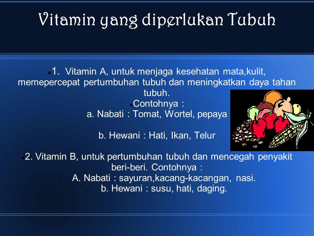 Vitamin yang diperlukan Tubuh 1.