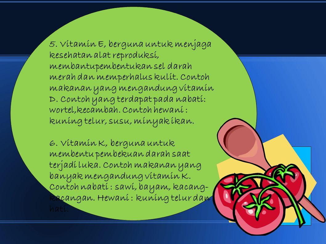 5. Vitamin E, berguna untuk menjaga kesehatan alat reproduksi, membantupembentukan sel darah merah dan memperhalus kulit. Contoh makanan yang mengandu