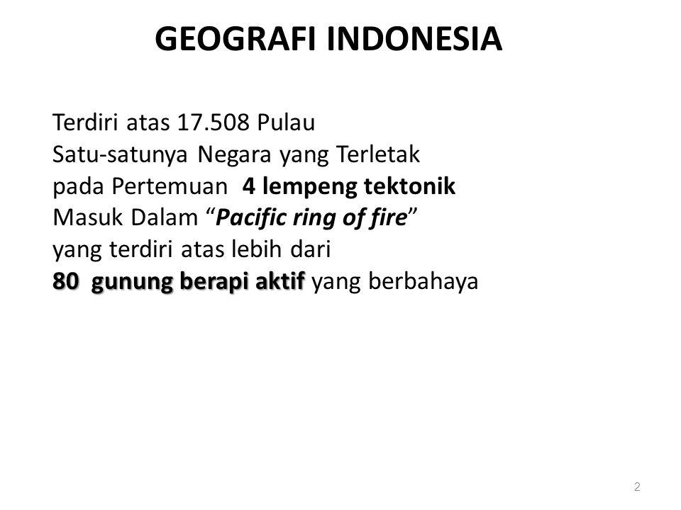2 80 gunung berapi aktif GEOGRAFI INDONESIA Terdiri atas 17.508 Pulau Satu-satunya Negara yang Terletak pada Pertemuan 4 lempeng tektonik Masuk Dalam Pacific ring of fire yang terdiri atas lebih dari 80 gunung berapi aktif yang berbahaya