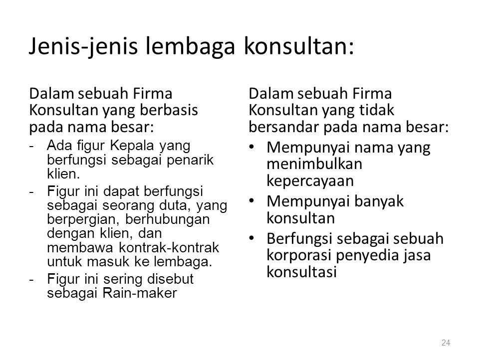 Jenis-jenis lembaga konsultan: Dalam sebuah Firma Konsultan yang berbasis pada nama besar: -Ada figur Kepala yang berfungsi sebagai penarik klien. -Fi