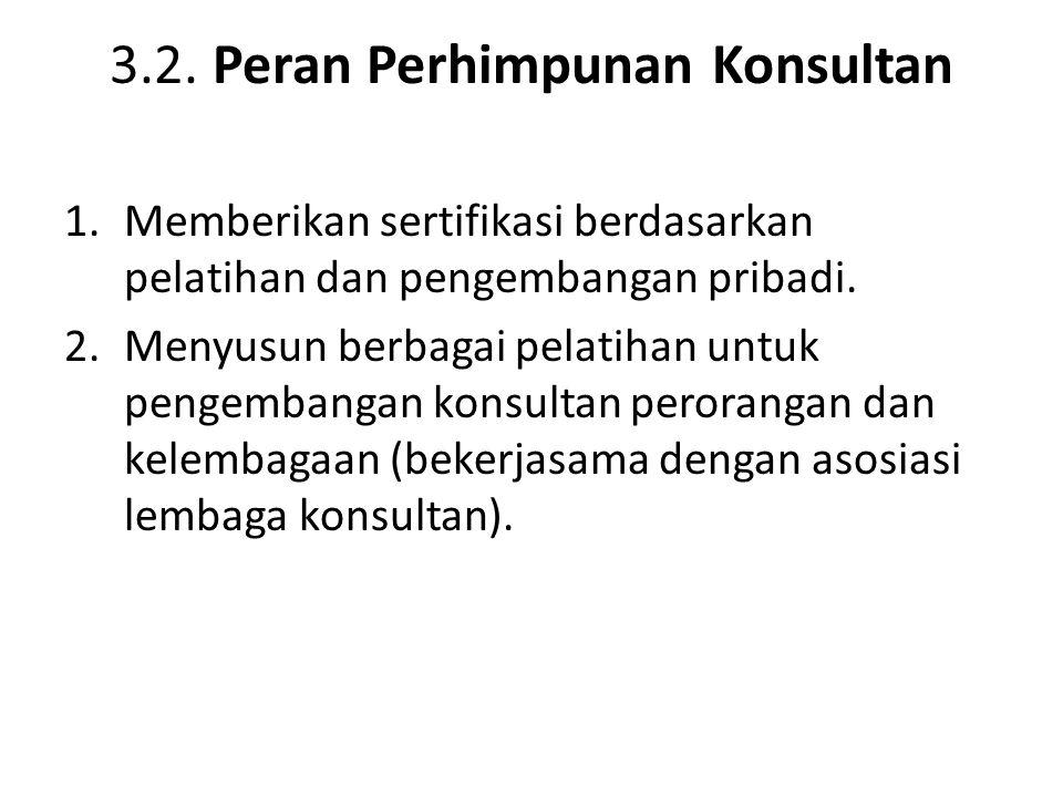 3.2. Peran Perhimpunan Konsultan 1.Memberikan sertifikasi berdasarkan pelatihan dan pengembangan pribadi. 2.Menyusun berbagai pelatihan untuk pengemba