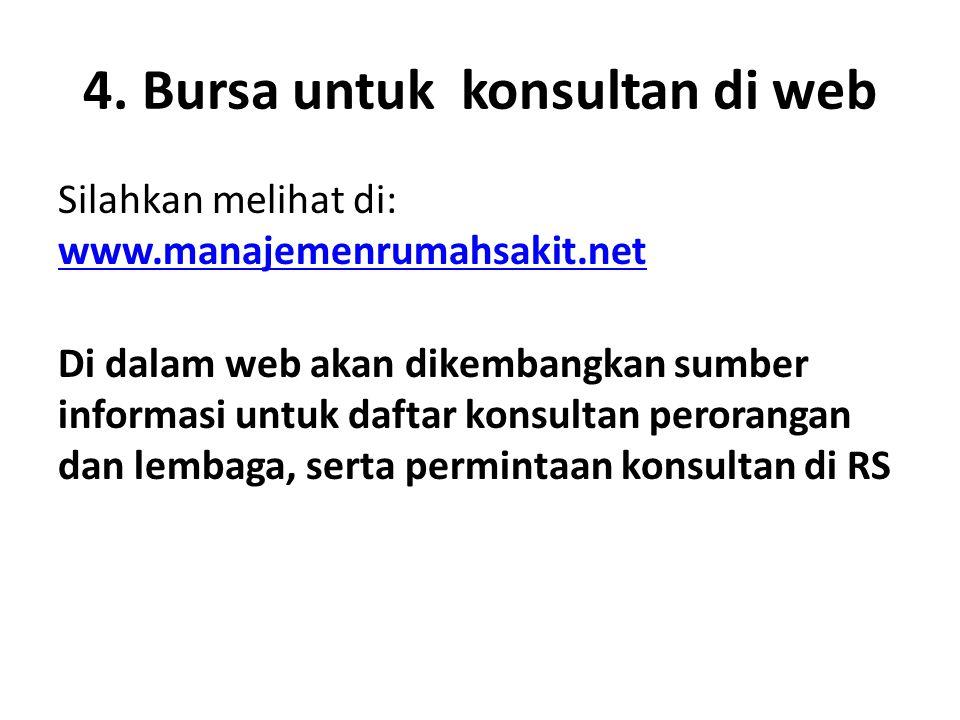 4. Bursa untuk konsultan di web Silahkan melihat di: www.manajemenrumahsakit.net www.manajemenrumahsakit.net Di dalam web akan dikembangkan sumber inf