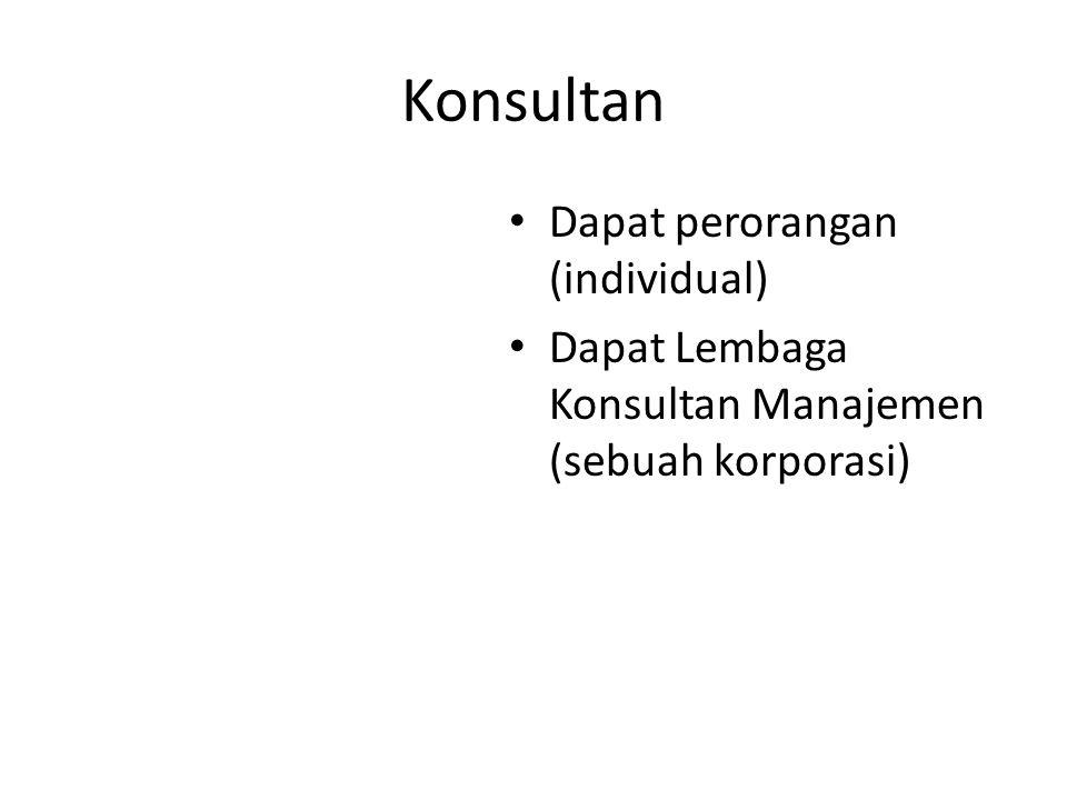 Konsultan Dapat perorangan (individual) Dapat Lembaga Konsultan Manajemen (sebuah korporasi)