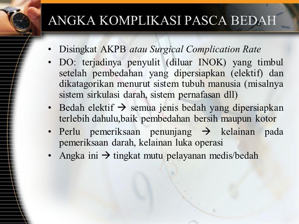 ANGKA KOMPLIKASI PASCA BEDAH Disingkat AKPB atau Surgical Complication Rate DO: terjadinya penyulit (diluar INOK) yang timbul setelah pembedahan yang dipersiapkan (elektif) dan dikatagorikan menurut sistem tubuh manusia (misalnya sistem sirkulasi darah, sistem pernafasan dll) Bedah elektif  semua jenis bedah yang dipersiapkan terlebih dahulu,baik pembedahan bersih maupun kotor Perlu pemeriksaan penunjang  kelainan pada pemeriksaan darah, kelainan luka operasi Angka ini  tingkat mutu pelayanan medis/bedah