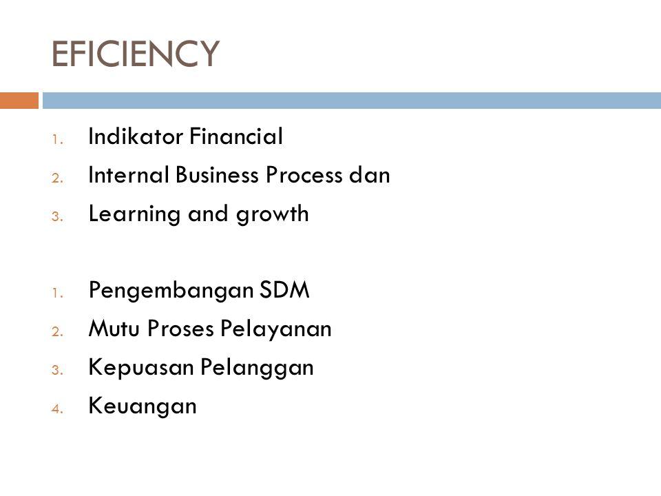 EFICIENCY 1. Indikator Financial 2. Internal Business Process dan 3. Learning and growth 1. Pengembangan SDM 2. Mutu Proses Pelayanan 3. Kepuasan Pela