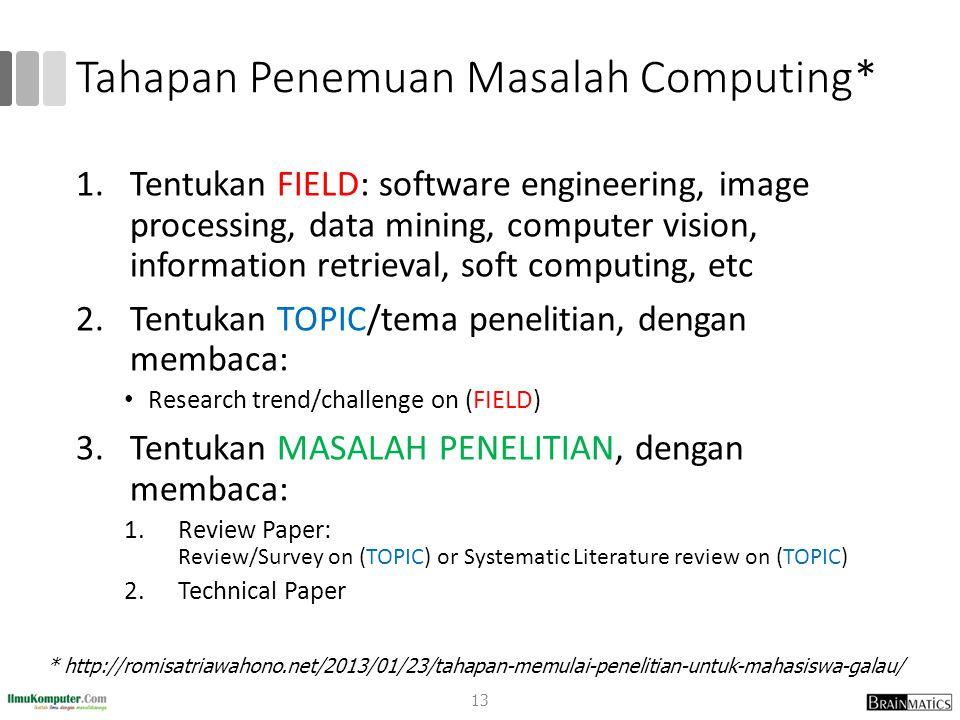 Tahapan Penemuan Masalah Computing* 1.Tentukan FIELD: software engineering, image processing, data mining, computer vision, information retrieval, sof
