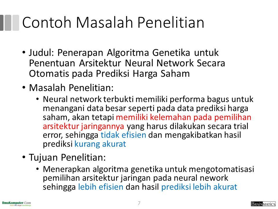 Contoh Masalah Penelitian Judul: Penerapan Algoritma Genetika untuk Penentuan Arsitektur Neural Network Secara Otomatis pada Prediksi Harga Saham Masa