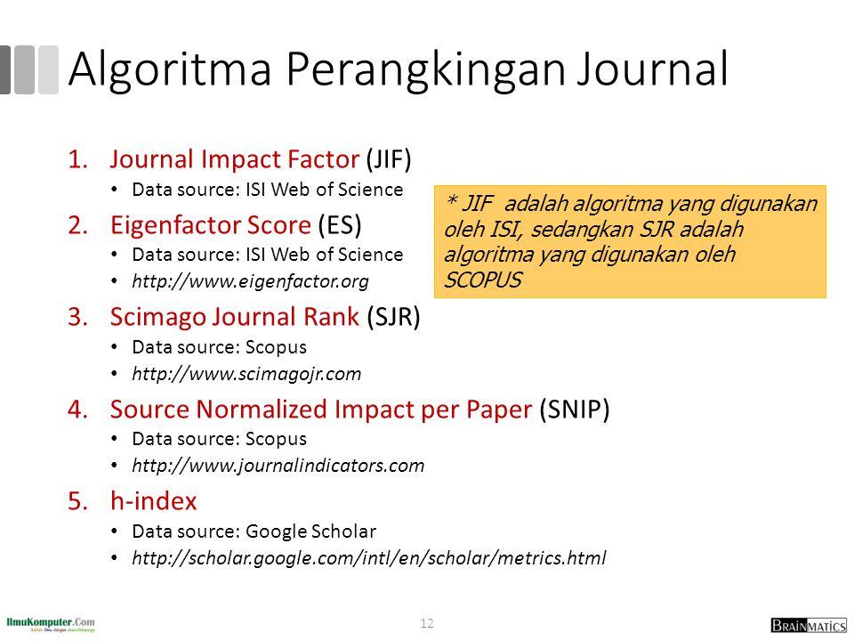 Algoritma Perangkingan Journal 1.Journal Impact Factor (JIF) Data source: ISI Web of Science 2.Eigenfactor Score (ES) Data source: ISI Web of Science http://www.eigenfactor.org 3.Scimago Journal Rank (SJR) Data source: Scopus http://www.scimagojr.com 4.Source Normalized Impact per Paper (SNIP) Data source: Scopus http://www.journalindicators.com 5.h-index Data source: Google Scholar http://scholar.google.com/intl/en/scholar/metrics.html * JIF adalah algoritma yang digunakan oleh ISI, sedangkan SJR adalah algoritma yang digunakan oleh SCOPUS 12
