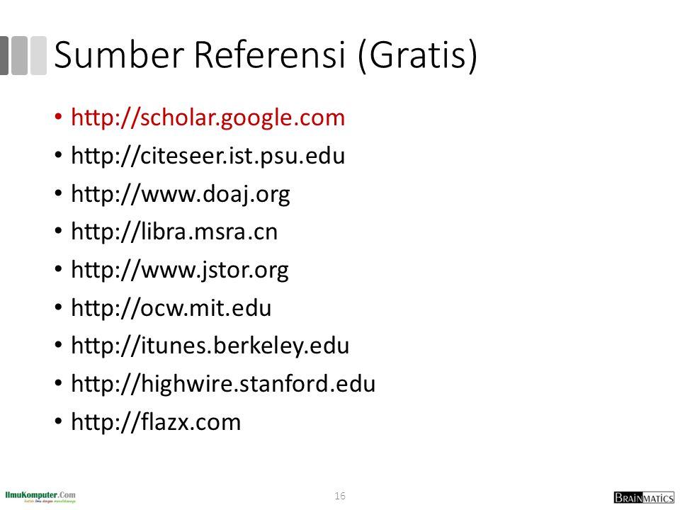 Sumber Referensi (Gratis) http://scholar.google.com http://citeseer.ist.psu.edu http://www.doaj.org http://libra.msra.cn http://www.jstor.org http://o