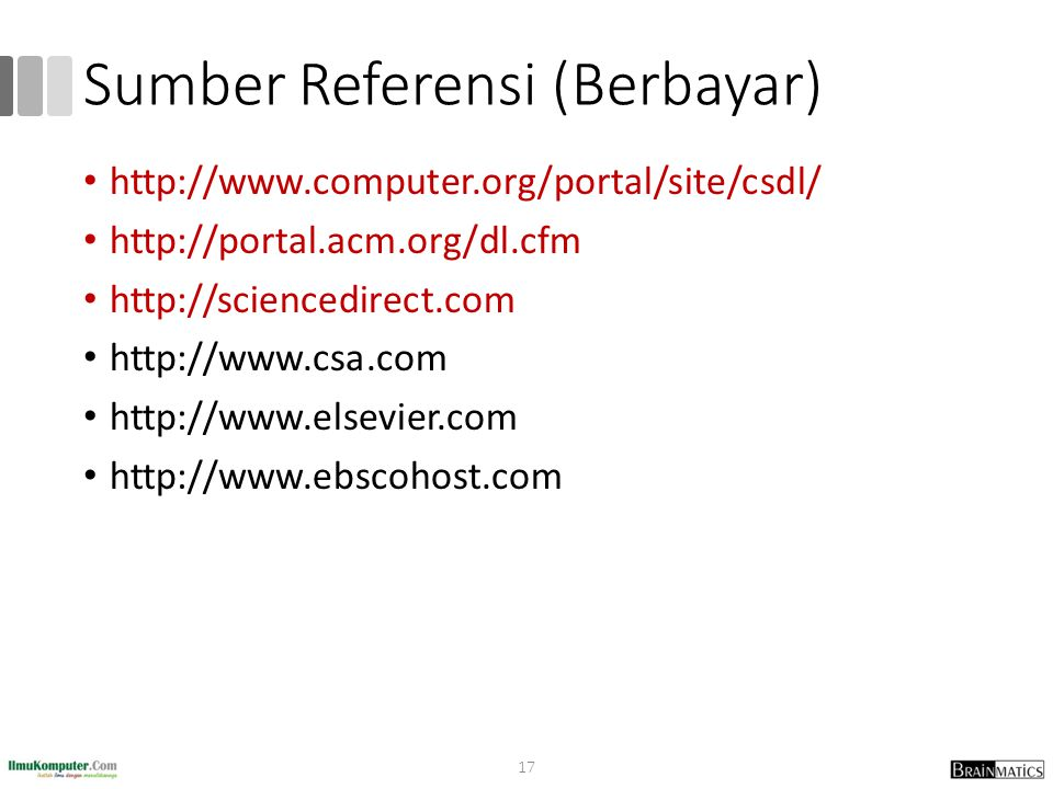 Sumber Referensi (Berbayar) http://www.computer.org/portal/site/csdl/ http://portal.acm.org/dl.cfm http://sciencedirect.com http://www.csa.com http://