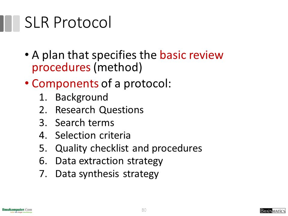 SLR Protocol A plan that specifies the basic review procedures (method) Components of a protocol: 1.Background 2.Research Questions 3.Search terms 4.S