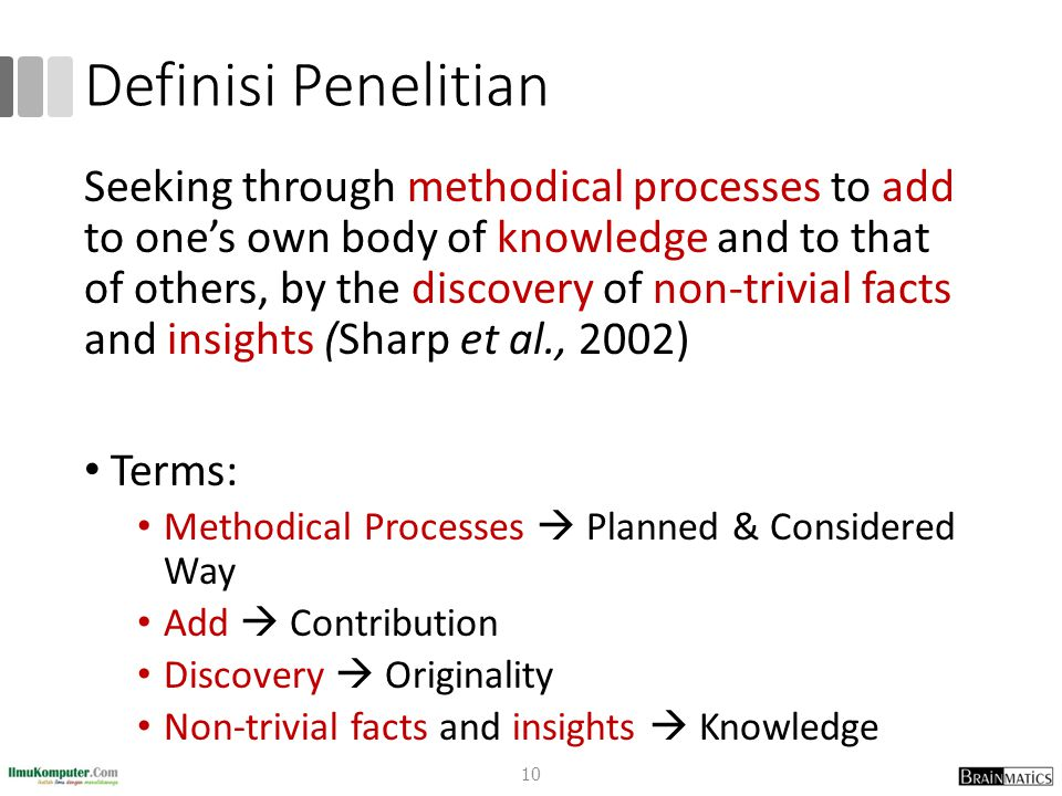 Definisi Penelitian Seeking through methodical processes to add to one's own body of knowledge and to that of others, by the discovery of non-trivial