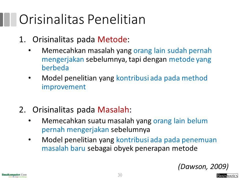 Orisinalitas Penelitian 1.Orisinalitas pada Metode: Memecahkan masalah yang orang lain sudah pernah mengerjakan sebelumnya, tapi dengan metode yang be