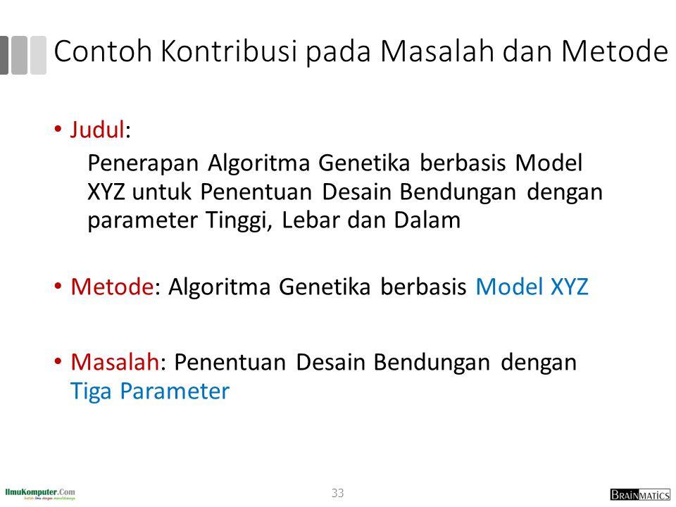 Contoh Kontribusi pada Masalah dan Metode Judul: Penerapan Algoritma Genetika berbasis Model XYZ untuk Penentuan Desain Bendungan dengan parameter Tin