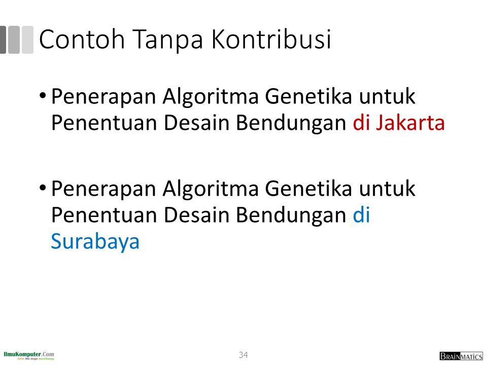 Contoh Tanpa Kontribusi Penerapan Algoritma Genetika untuk Penentuan Desain Bendungan di Jakarta Penerapan Algoritma Genetika untuk Penentuan Desain B