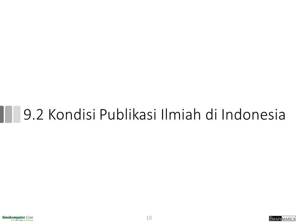 9.2 Kondisi Publikasi Ilmiah di Indonesia 10