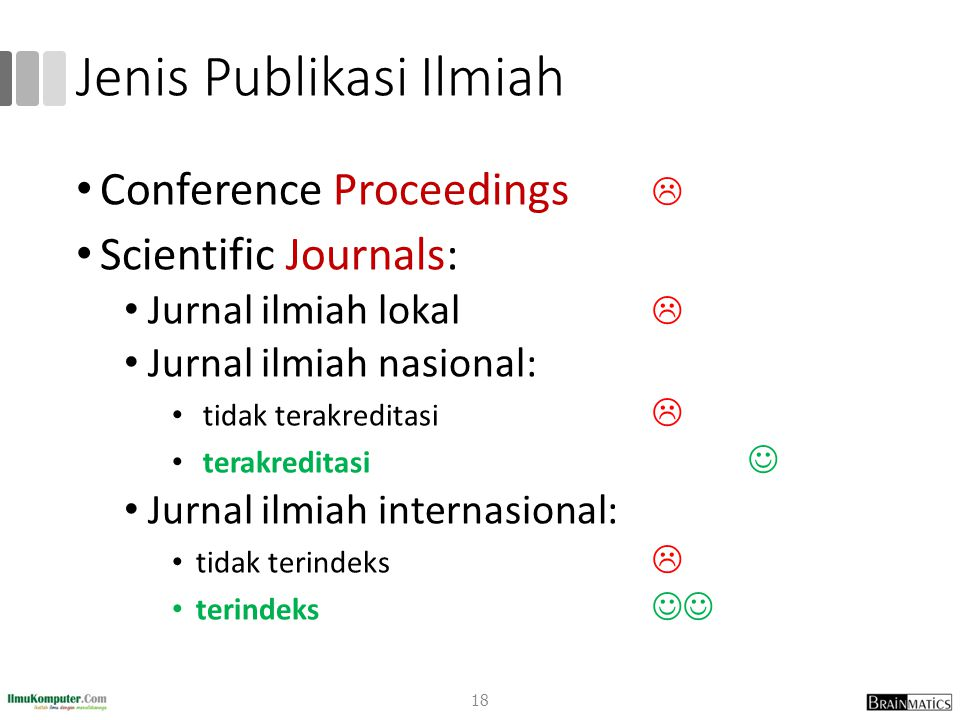 Jenis Publikasi Ilmiah Conference Proceedings  Scientific Journals: Jurnal ilmiah lokal  Jurnal ilmiah nasional: tidak terakreditasi  terakreditasi Jurnal ilmiah internasional: tidak terindeks  terindeks 18