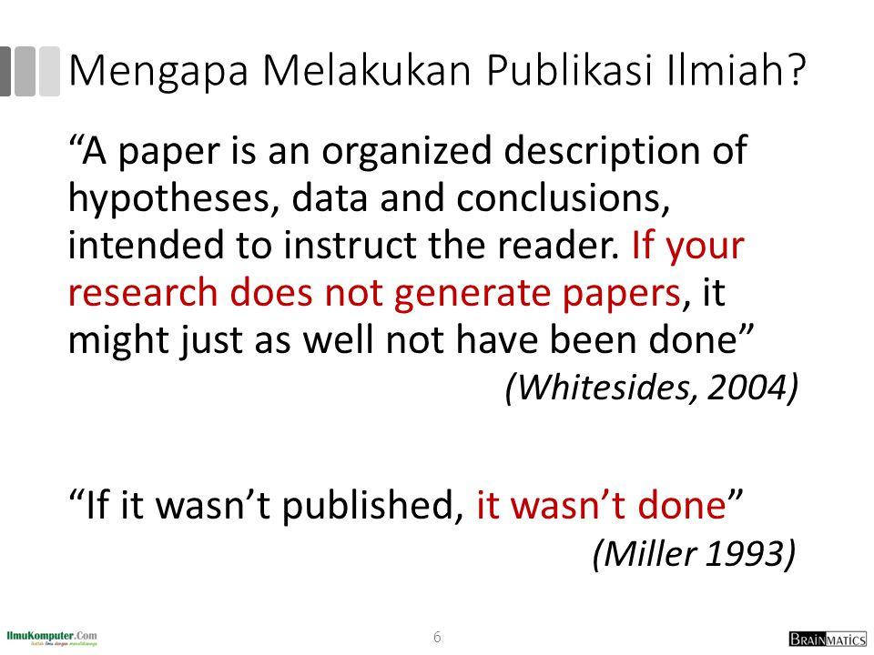 Mengapa Melakukan Publikasi Ilmiah.Surat Edaran Dirjen Dikti No.