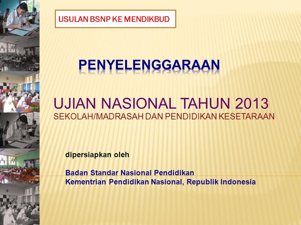 UJIAN NASIONAL TAHUN 2013 SEKOLAH/MADRASAH DAN PENDIDIKAN KESETARAAN dipersiapkan oleh Badan Standar Nasional Pendidikan Kementrian Pendidikan Nasional, Republik Indonesia USULAN BSNP KE MENDIKBUD