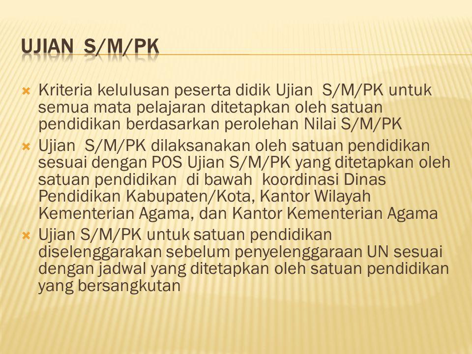  Kriteria kelulusan peserta didik Ujian S/M/PK untuk semua mata pelajaran ditetapkan oleh satuan pendidikan berdasarkan perolehan Nilai S/M/PK  Ujia