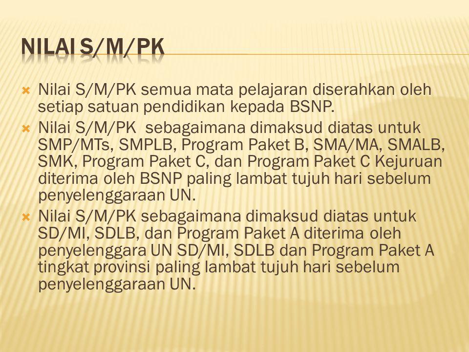  Nilai S/M/PK semua mata pelajaran diserahkan oleh setiap satuan pendidikan kepada BSNP.  Nilai S/M/PK sebagaimana dimaksud diatas untuk SMP/MTs, SM