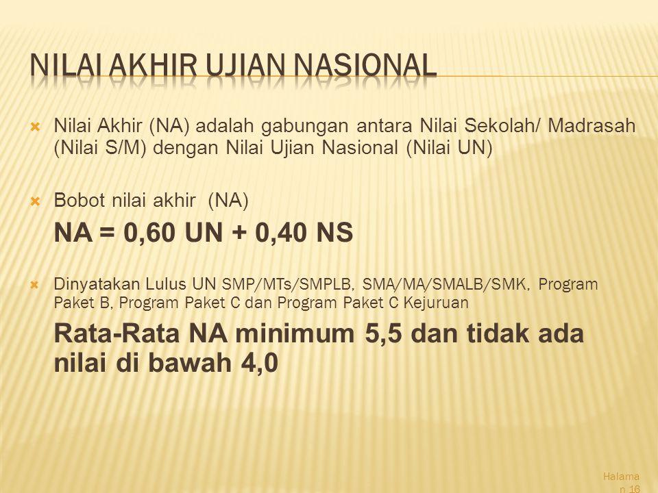  Nilai Akhir (NA) adalah gabungan antara Nilai Sekolah/ Madrasah (Nilai S/M) dengan Nilai Ujian Nasional (Nilai UN)  Bobot nilai akhir (NA) NA = 0,60 UN + 0,40 NS  Dinyatakan Lulus UN SMP/MTs/SMPLB, SMA/MA/SMALB/SMK, Program Paket B, Program Paket C dan Program Paket C Kejuruan Rata-Rata NA minimum 5,5 dan tidak ada nilai di bawah 4,0 Halama n 16