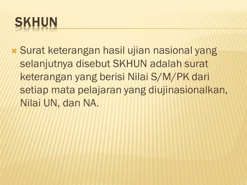  Surat keterangan hasil ujian nasional yang selanjutnya disebut SKHUN adalah surat keterangan yang berisi Nilai S/M/PK dari setiap mata pelajaran yang diujinasionalkan, Nilai UN, dan NA.