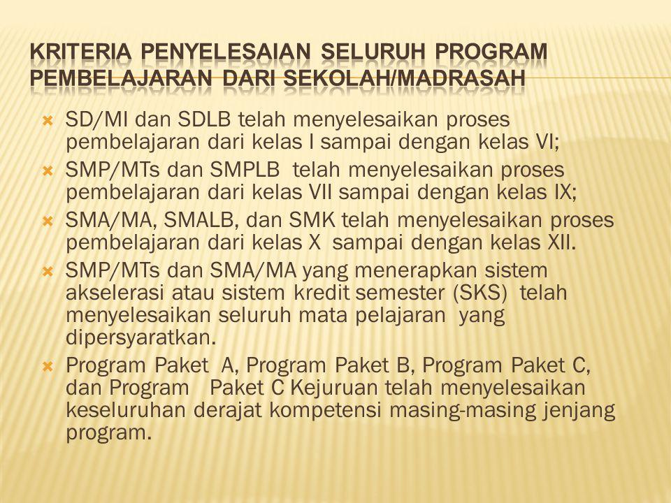  SD/MI dan SDLB telah menyelesaikan proses pembelajaran dari kelas I sampai dengan kelas VI;  SMP/MTs dan SMPLB telah menyelesaikan proses pembelajaran dari kelas VII sampai dengan kelas IX;  SMA/MA, SMALB, dan SMK telah menyelesaikan proses pembelajaran dari kelas X sampai dengan kelas XII.
