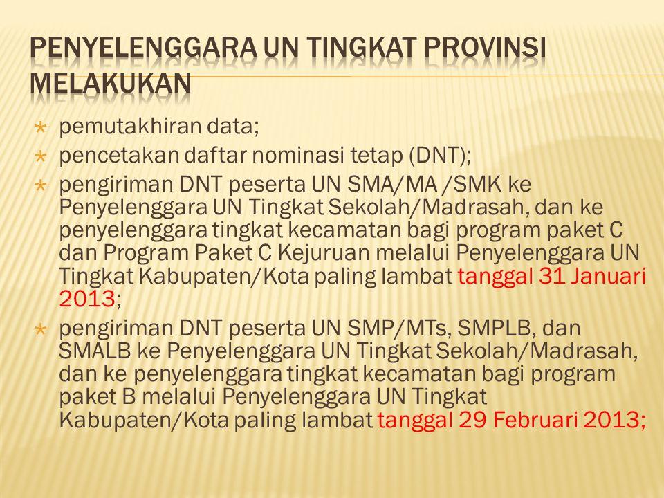  pemutakhiran data;  pencetakan daftar nominasi tetap (DNT);  pengiriman DNT peserta UN SMA/MA /SMK ke Penyelenggara UN Tingkat Sekolah/Madrasah, d