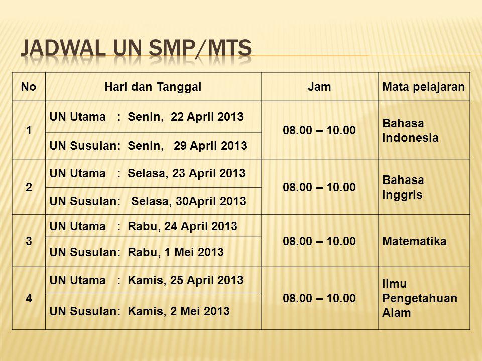 NoHari dan TanggalJamMata pelajaran 1 UN Utama : Senin, 22 April 2013 08.00 – 10.00 Bahasa Indonesia UN Susulan: Senin, 29 April 2013 2 UN Utama : Sel