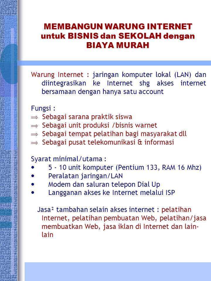 MEMBANGUN WARUNG INTERNET untuk BISNIS dan SEKOLAH dengan BIAYA MURAH Warung Internet : jaringan komputer lokal (LAN) dan diintegrasikan ke Internet s