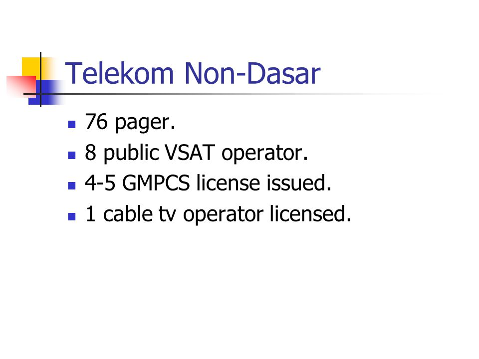Telekom Non-Dasar 76 pager. 8 public VSAT operator. 4-5 GMPCS license issued. 1 cable tv operator licensed.