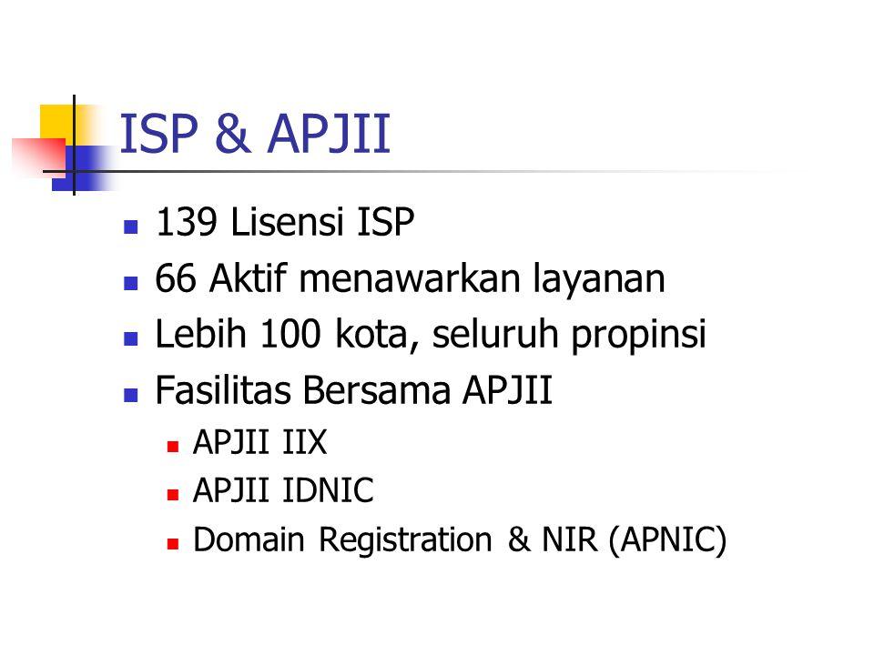 ISP & APJII 139 Lisensi ISP 66 Aktif menawarkan layanan Lebih 100 kota, seluruh propinsi Fasilitas Bersama APJII APJII IIX APJII IDNIC Domain Registration & NIR (APNIC)
