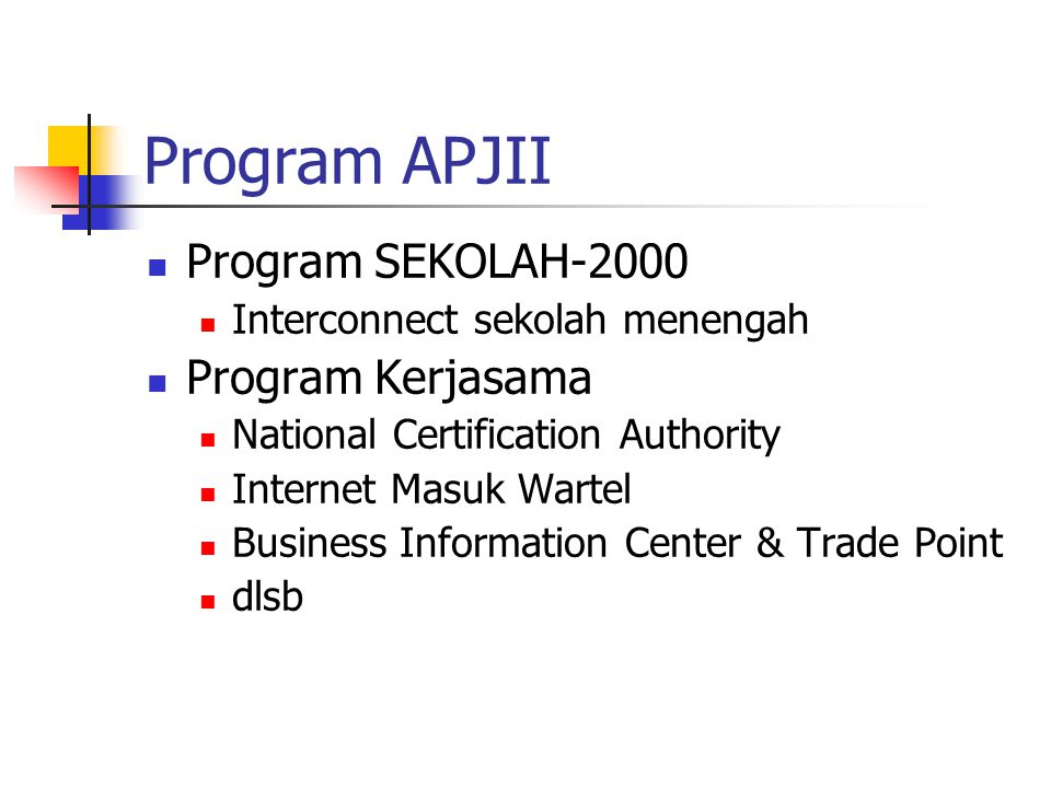 Program APJII Program SEKOLAH-2000 Interconnect sekolah menengah Program Kerjasama National Certification Authority Internet Masuk Wartel Business Information Center & Trade Point dlsb