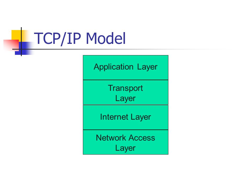TCP/IP Model Application Layer Transport Layer Internet Layer Network Access Layer