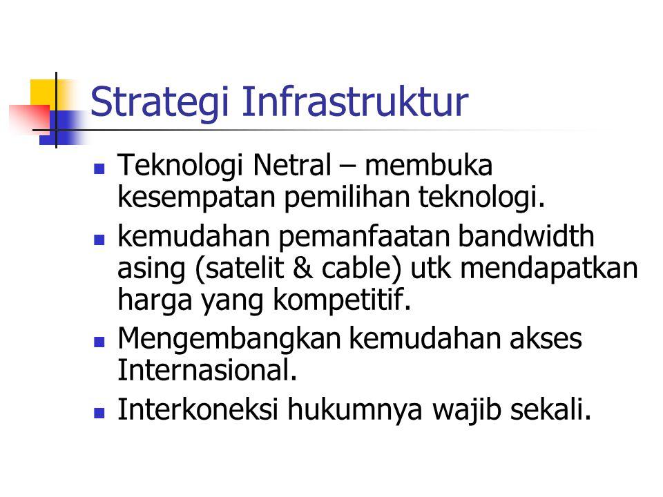 Strategi Infrastruktur Teknologi Netral – membuka kesempatan pemilihan teknologi. kemudahan pemanfaatan bandwidth asing (satelit & cable) utk mendapat