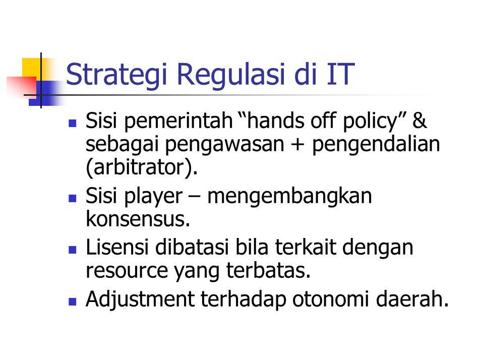 """Strategi Regulasi di IT Sisi pemerintah """"hands off policy"""" & sebagai pengawasan + pengendalian (arbitrator). Sisi player – mengembangkan konsensus. Li"""
