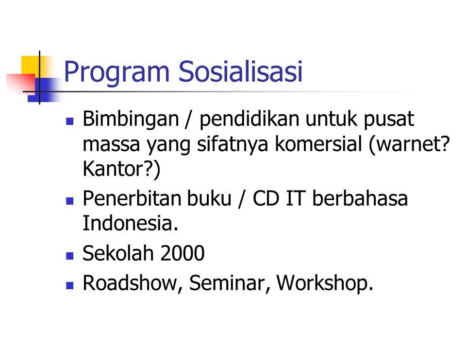 Program Sosialisasi Bimbingan / pendidikan untuk pusat massa yang sifatnya komersial (warnet? Kantor?) Penerbitan buku / CD IT berbahasa Indonesia. Se