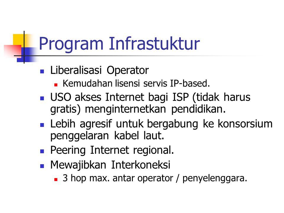 Program Infrastuktur Liberalisasi Operator Kemudahan lisensi servis IP-based. USO akses Internet bagi ISP (tidak harus gratis) menginternetkan pendidi