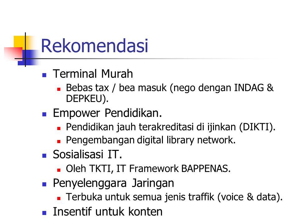 Rekomendasi Terminal Murah Bebas tax / bea masuk (nego dengan INDAG & DEPKEU). Empower Pendidikan. Pendidikan jauh terakreditasi di ijinkan (DIKTI). P