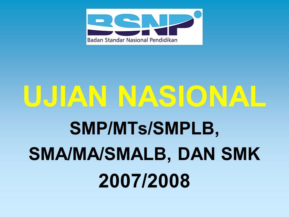 UJIAN NASIONAL SMP/MTs/SMPLB, SMA/MA/SMALB, DAN SMK 2007/2008